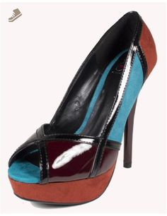 Aloha! By Delicious Sexy Multi Color Contrast Faux Suede with Patent Leather Peep-toe Pumps, burgundy multi, 8 M - Delicious pumps for women (*Amazon Partner-Link)