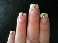 Yellow and grey nail art