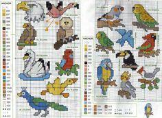 Schema punto croce Uccelli B