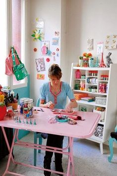 Outstanding Sewing Room Ideas for Your Space . 22 Sewing Room for Your Sewing Room for Your . Sewing Spaces, Sewing Rooms, Craft Room Storage, Craft Organization, Craft Rooms, Space Crafts, Home Crafts, Craft Space, Rangement Art