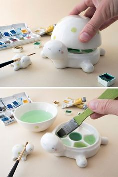 Ceramic Palettes Shaped Like Animals are the Cutest Way to Conceal Wet Paint Turtle-shaped ceramic palette<br> Tramai Ceramics creates animal-shaped palettes whose faces act as a cover for your wet paint. Ceramic Pottery, Ceramic Art, Pottery Art, Ceramic Painting, Clay Crafts, Arts And Crafts, Art Sculpture, Sculpture Ideas, Abstract Sculpture