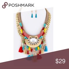 "Fringe Beads & Tassels Statement Necklace Set New with tags, Necklace 17"" + Extension,  Earrings 1.5"" Drop Jewelry Necklaces"