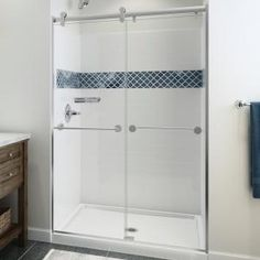 Delta UPstile 34 in. x 48 in. x 74 in. Direct-To-Stud Alcove Shower Surround with Customizable Design in White - - The Home Depot Granite Vanity Tops, Marble Vanity Tops, Vanity Countertop, Shower Base, Shower Tub, Shower Stalls, Shower Niche, Master Shower, Large Shower