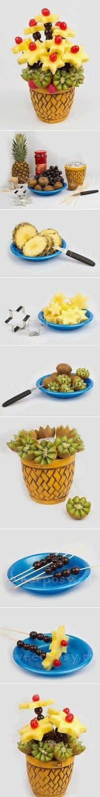 DIY Fruity Bouquet fruit basket bouquet fruity diy crafts easy crafts diy ideas diy crafts do it yourself crafty easy diy diy food diy food art diy easy diy craft ideas diy tutorials Fruit Party, Snacks Für Party, Party Favors, Fruits Decoration, Deco Fruit, Deco Buffet, Pineapple Flowers, Fruit Flowers, Fruit And Vegetable Carving