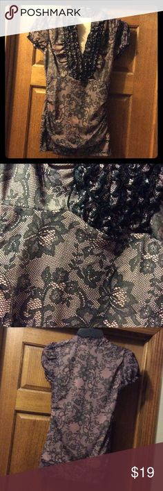 Fancy Pink and Black Lacey Blouse Pretty top worn for several performances and recitals. Great with black pant or a black skirt! Near perfect condition except for tag being cut out. Maurices Tops Blouses