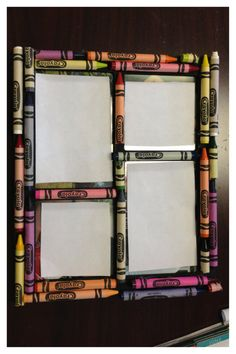 Crayon Collage Picture Frame by MeghansCreations1 on Etsy, $20.00