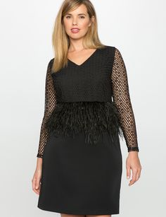 Studio Feather and Lace Peplum Dress | Women's Plus Size Dresses | ELOQUII
