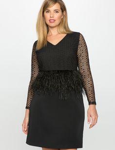 Studio Feather and Lace Peplum Dress | Women's Plus Size Dresses | ELOQUII