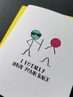 I totally have your back, Friend Card, Friendship, Support Card, Stick Figure Funny Greeting Card – Diy Gifts For Friends Birthday Cards For Friends, Bday Cards, Diy Gifts For Friends, Funny Birthday Cards, Handmade Birthday Cards, Birthday Humorous, Birthday Quotes, Funny Cards For Friends, Sister Birthday
