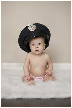 Boulder Colorado photographer, Boulder Colorado family photographer, 6 Month photo ideas, baby in police officer's hat