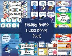 These items can be purchased and downloaded individually by clicking on the links below. For a further description/ preview of each item included in this pack you can also click on the links below.Here's what's included in this Finding Nemo/ Dory Classroom Decor Pack:Behavior Clip ChartSchedule CardsInspirational Quotes PostersCalendar SetDesk Name TagsClassroom Job CardsClassroom Supply Labels