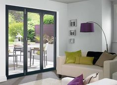 The attractive Vufold Master external bi-folding door sets come with a hardwood veneer which has a crisp 3 coat factory-applied white or grey finish and thick doors. Bifold Doors Onto Patio, Blinds For Bifold Doors, White Bifold Doors, Kitchen Bifold Doors, Balcony Doors, Patio Doors, External Bifold Doors, Open Plan Kitchen Living Room, Dining Room