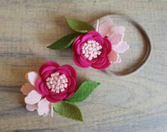 ANEMONE Single bloom / flower headband / felt by shopfeltinbloom