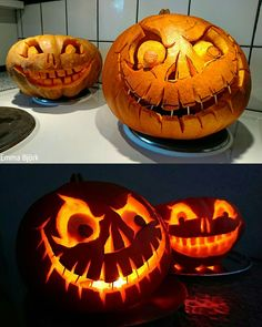 My pumpkins this year. I think they turned out great ☺️ My pumpkins this year. I think they turned out great ☺️ Amazing Pumpkin Carving, Easy Pumpkin Carving, Pumpkin Art, Pumpkin Faces, Baby In Pumpkin, Pumpkin Painting, Pumpkin Ideas, Halloween Lanterns, Halloween Pumpkins