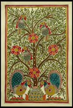 India Madhubani Painting Folk Wall Art 'Celebrating The Tree of Life' Novica…