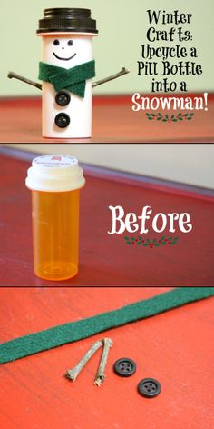Upcycle Pill Bottles With These 22 Ideas DIY - Snowman Made With Empty Pill Bottle So cute! I have sooooo many old pill bottles laying around that I've been meaning to recycle. Now's my chance! I could make a bunch this summer and have them ready for Chr Diy Snowman Decorations, Snowman Crafts, Christmas Projects, Kids Christmas, Holiday Crafts, Christmas Ornaments, Snowman Wreath, Christmas Snowman, Snowman Ornaments