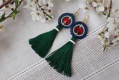 slovak folk earrings, slovak folklore jewelry, macrame earrings, fringe earrings Macrame Earrings, Fringe Earrings, Tassel Necklace, Drop Earrings, Tassels, Jewelry, Jewlery, Jewerly, Schmuck