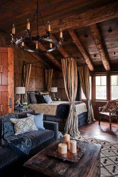 031 small log cabin homes ideas rustic romantic bedroom, rustic roo Rustic Master Bedroom, Home Bedroom, Modern Bedroom, Bedroom Ideas, Bedroom Designs, Winter Bedroom, Bedroom Romantic, Rustic Bedrooms, Bedroom Furniture