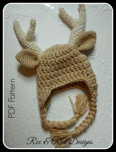 Crochet Baby Buck Antler Hat PDF PATTERN ONLY by RexandRedDesigns