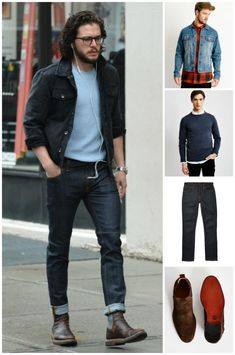 Look stylish without really trying in a black denim jacket and navy blue jeans. A pair of dark brown leather chelsea boots adds more polish to your overall look. What an obvious idea for spring and summer! Blue Jeans Mens, Blue Denim Shirt, Navy Jeans, Denim Man, Men's Denim, Denim Style, Black Denim Jacket Outfit, Guys Jeans, Black Boots Outfit