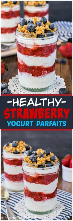 Healthy Strawberry Yogurt Parfaits - layers of homemade strawberry sauce and Greek yogurt makes this an easy breakfast recipe for busy summer mornings!