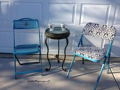 Spray painted and reupholstered folding chairs - girlinthegarage.net