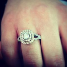 Cushion Cut Double Halo Rose and White Gold Diamond Engagement Ring from Steven Singer Jewelers