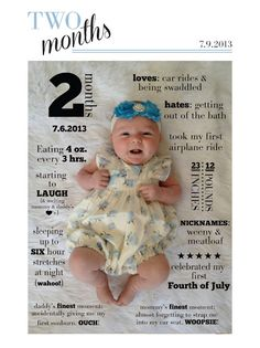 such a cute idea for the baby's year :-) The Babys, Foto Newborn, Newborn Photos, Monthly Baby Photos, Monthly Pictures, Baby Growth, Baby Memories, Baby Month By Month, Two Month Old Baby