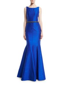 Sleeveless Beaded-Waist Mermaid Gown, Blue - David Meister