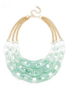 #Mint Ombré Lucite Links Necklace