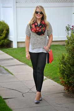 Date Night Cozy & Casual Look: @debshops grey short sleeve sweater, red and black floral infinity scarf, grey suede pumps, quilted leather leggings and French Connection crossbody bag (via @dmcheever)