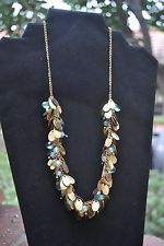 Pier 1 Imports Green/ Brass Tone Beaded Disc Cluster Necklace, $12