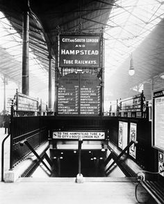 The entrance to Euston underground station, London, 1908. The tube station served the City & South London and Hampstead railways, now the Victoria line. It was opened in 1907. © National Railway Museum and SSPL http://www.nrm.org.uk/ourcollection/photo?group=Euston&objid=1997-7409_LMS_1489