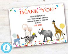 Editable Party Animals Thank You Card, Party Animals instant download invitation,You print birthday invitation, Party Animals DIY party Party Animals, Animal Party, Diy Party, Card Party, Animal Birthday, Party Printables, Birthday Celebration, Birthday Invitations, Save Yourself