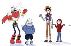 Papyrus and Sans from Undertale, and Héctor and Miguel Rivera from Coco, by Undertale Ost, Toby Fox, Cartoon Games, Bendy And The Ink Machine, Bad Timing, Overwatch, Comic Strips, Disney Pixar, Crossover