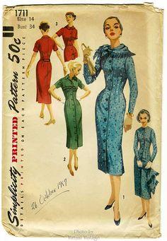 1950s Wiggle Dress Pattern Simplicity 1711 Bust 34 Button