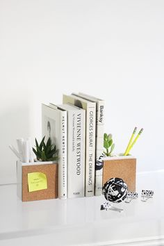 How to Succulent Planter Book Ends, Creativity is this gal's middle name.  These would make great gifts! ~ Mary Walds Place - MY DIY | Succulent & Supply Holder Bookends | I SPY DIY