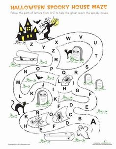Halloween Kindergarten The Alphabet Mazes Worksheets: Halloween Maze halloween educational Halloween Maze, Halloween Activities For Kids, Halloween Crafts For Kids, Halloween Themes, Fall Halloween, Halloween House, Maze Worksheet, Halloween Worksheets, Kindergarten Worksheets