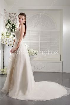 Qualified Strapless Neckline A-line Full Length Ivory Organza Wedding Dresses With Beaded Bodice at fancyflyingfox.com