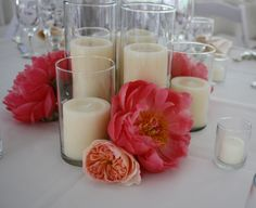 Diy Wedding Centerpieces Floating Candles With Red Orange Rose And Coral Centerpieces, Peonies Centerpiece, Simple Centerpieces, Wedding Centerpieces, Centerpiece Ideas, Head Table Wedding Decorations, Head Table Decor, Trendy Wedding, Diy Wedding