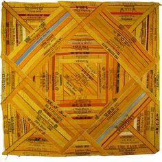 Silk Cigar Ribbon Quilt Piece c.1890 Antique Victorian Advertising Square