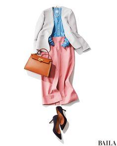 ジャケット×カーデ×タイトスカートを今季らしくコーディネートするなら、春色アイテムを選んで。コンサバ感のある洋服なら、ピンクやブルーなどの明るいカラーMIXもきちんと感のあるきれいさが叶います。アクセサリーをつけるなら、パールネックレスで上品に。バックやジュースは締め色を選ぶと、・・・