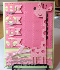 Giraffe Baby Girl Card using Create A Critter Cartridge