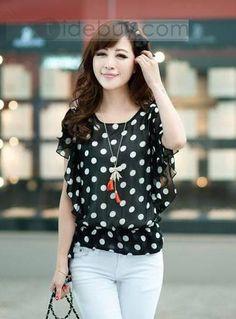 韓国風的 半袖 水玉模様 熱い販売 シフォン  (10434185)