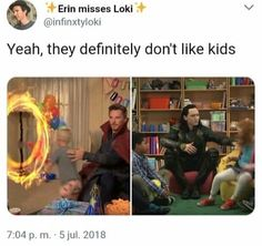 Dr strange and loki Marvel Funny, Marvel Dc Comics, Marvel Movies, Marvel Avengers, Marvel Heroes, Bucky Barnes, Benedict Cumberbatch, Marvel Universe, Tom Hiddleston