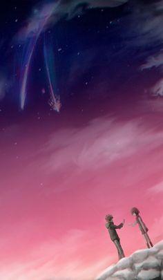 Kimi no na wa Your Name Movie, Your Name Anime, Kimi No Na Wa Wallpaper, Name Wallpaper, Mitsuha And Taki, Kokoro Connect, Bond, Japanese Drawings, Film D'animation