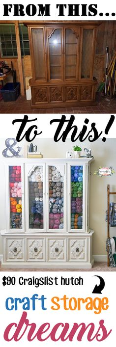 Storage Dreams Turn an old thrifted hutch into the yarn or craft supply storage of your dreams! Easy furniture rehab using chalk paintTurn an old thrifted hutch into the yarn or craft supply storage of your dreams! Easy furniture rehab using chalk paint Craft Storage Furniture, Craft Room Storage, Furniture Makeover, Diy Furniture, Storage Shelves, Diy Yarn Storage Ideas, Paint Storage, Furniture Online, Storage Drawers