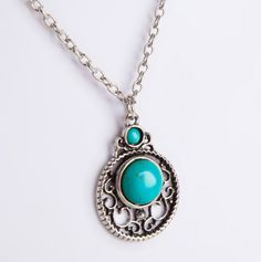 Circle Pendant with Turquoise Necklace.