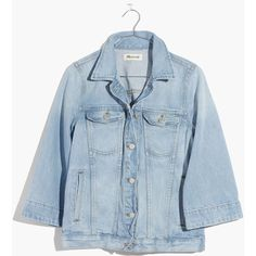 MADEWELL Bell-Sleeve Jean Jacket ($128) ❤ liked on Polyvore featuring outerwear, jackets, spellbrook wash, beach jacket, bell sleeve jacket, embroidered jean jacket, embroidered jacket and jean jacket