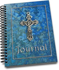 Silver Cross Blue Background / 150 Lined Journal Pages / Notebook / Diary / x 9 with soft lined pages Notebooks, Journals, Lined Page, Journal Pages, Blue Backgrounds, Unique Jewelry, Handmade Gifts, Silver, Etsy